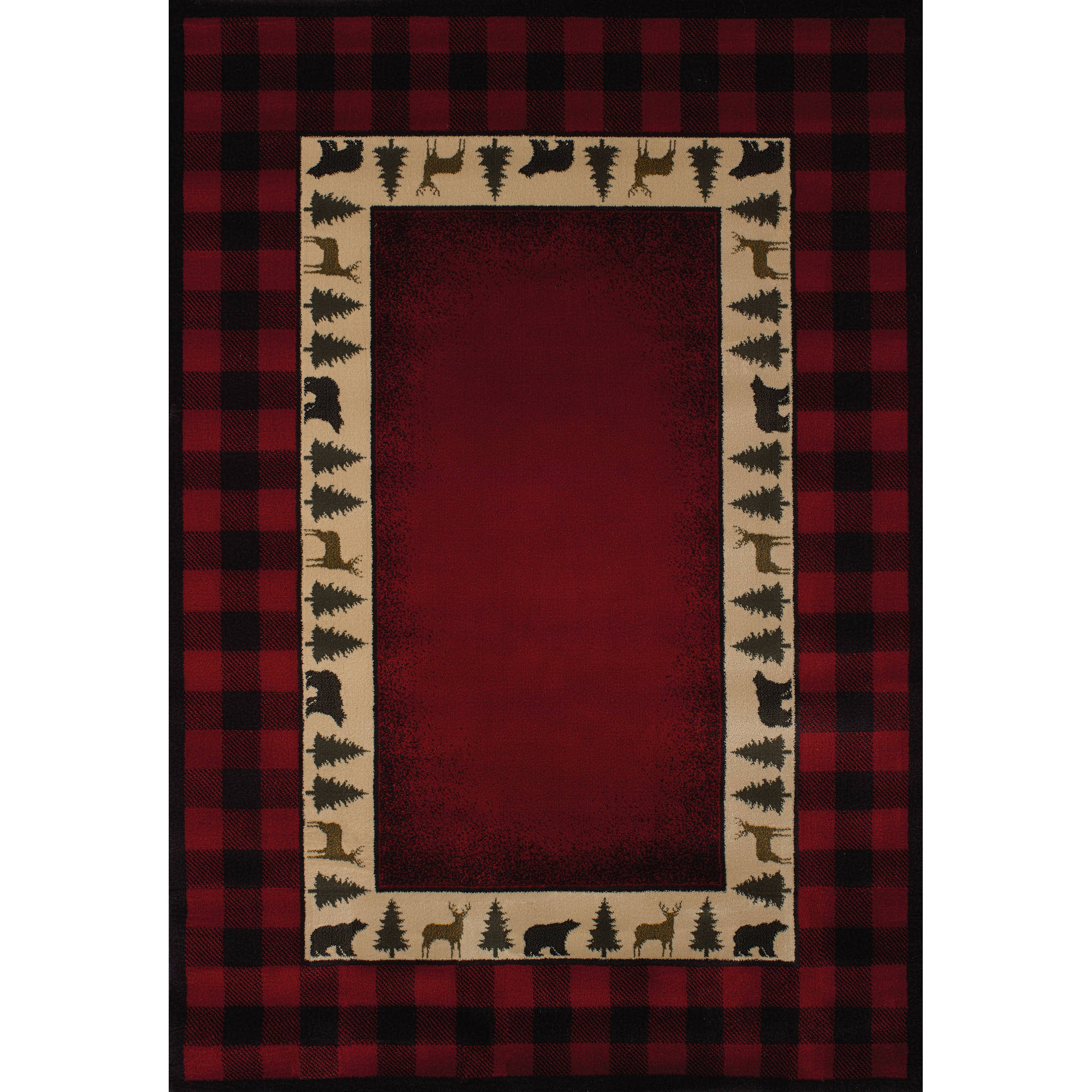 United Weavers Big Timber Buffalo Plaid Red Woven Polypropylene Area Rug or Runner