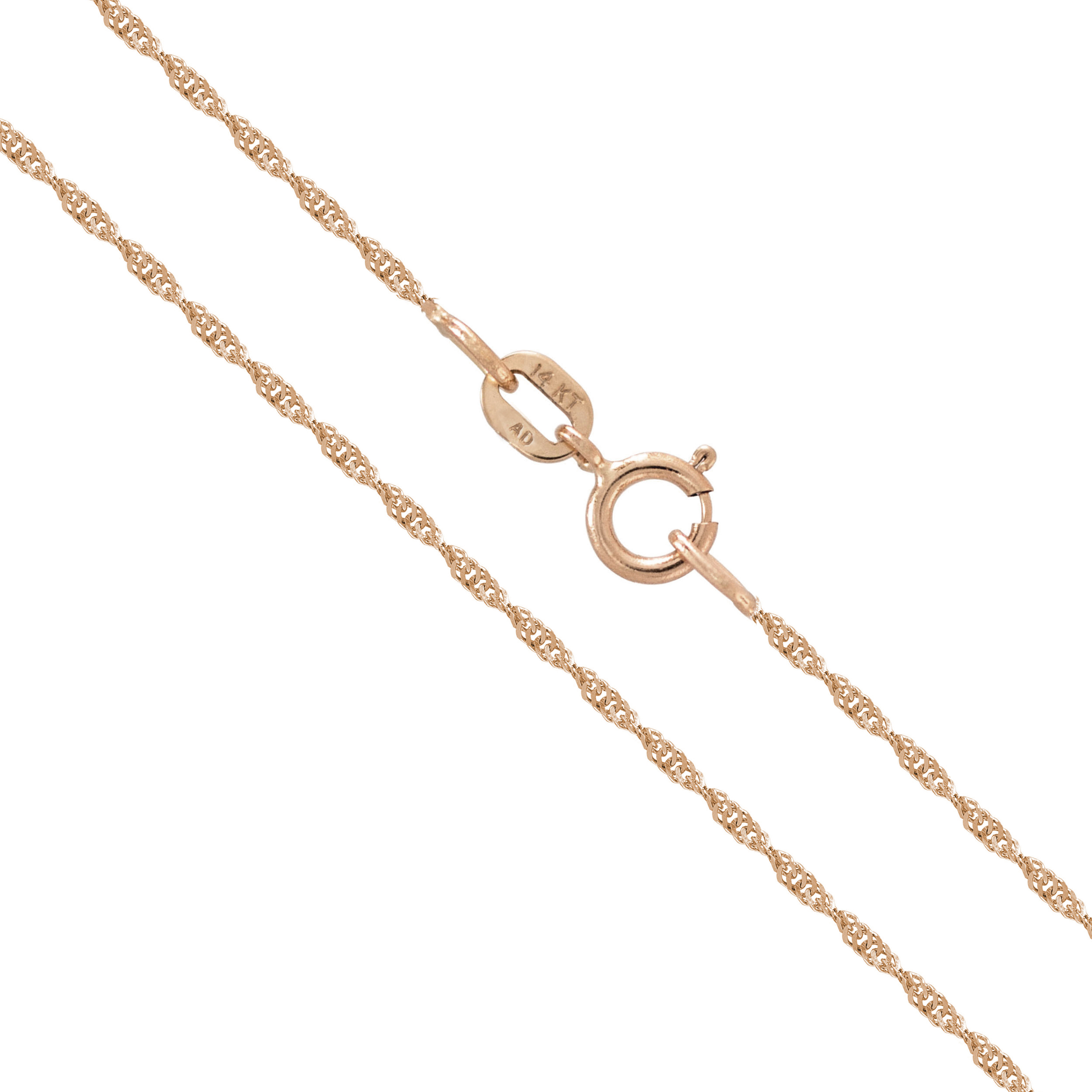 "14K Solid Rose Gold 0.8mm Singapore Twisted Curb Chain Necklace 16"" 18"" 20"""