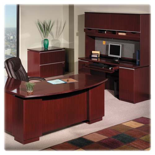 Bush Furniture Milano Collection Right L-Desk Full Height - Harvest Cherry (Box 2 of 2) 50DLR72A2CS