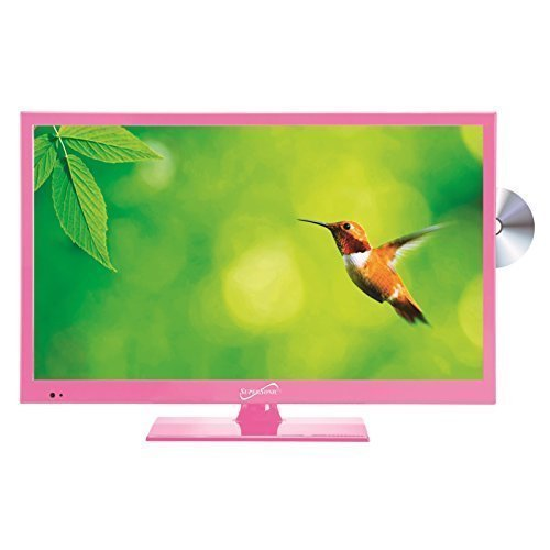 """Supersonic SC-1512PK Pink 15.6"""" LED Widescreen HDTV Television/Monitor with Build in DVD Player"""