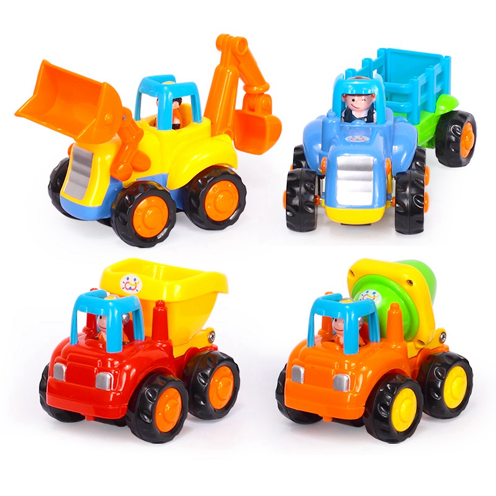 Happy Engineering Vehicles Cartoon Friction Powered Push and Go Vehicles for Toddlers... by