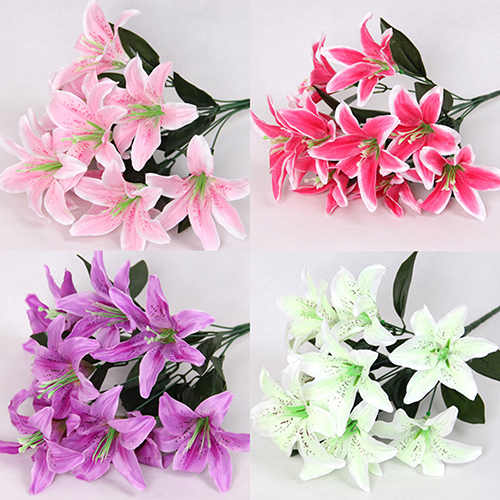 Girl12Queen 1 Bouquet 10 Heads Sweet Artificial Flower Fake Lily Home Wedding Party Decor