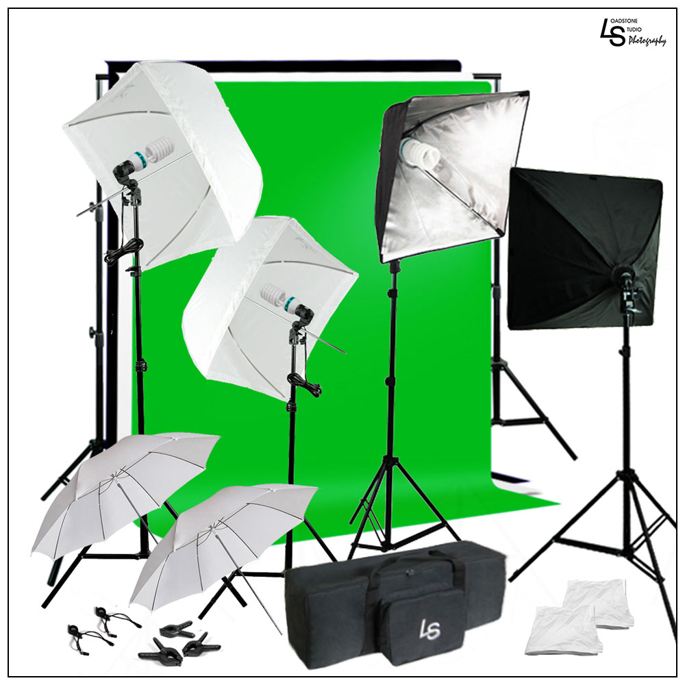 Portrait Umbrella Softbox Complete Kit with Muslin, Backdrop Support System, Lighting Stand, Bulbs, and Bag by Loadstone Studio WMLS1071