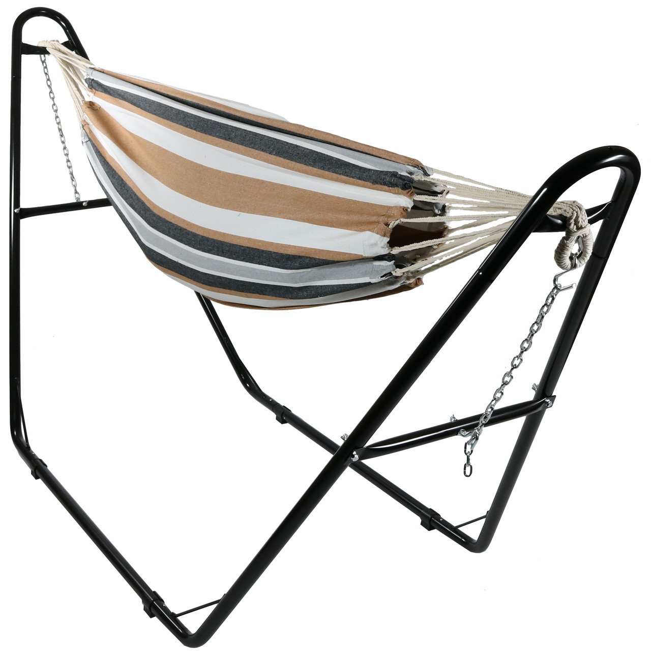 Sunnydaze Jumbo Brazilian Double Hammock with Universal Multi-Use Stand, Extra Long, Large 2 Person, Portable Hammock Bed, with Carrying Pouch, Max Weight: 450 Pounds, Choose Color