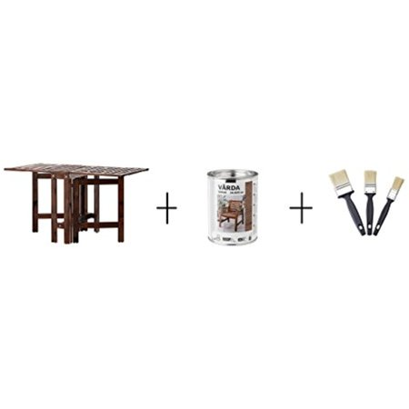 Ikea Gateleg table, outdoor, brown stained brown , Wood stain, outdoor use, brown, Paint brush set
