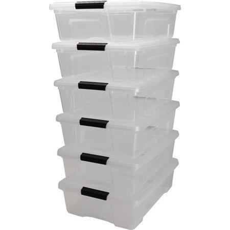 Iris 26 Quart Stack   Pull  Box  6 Pack  Clear