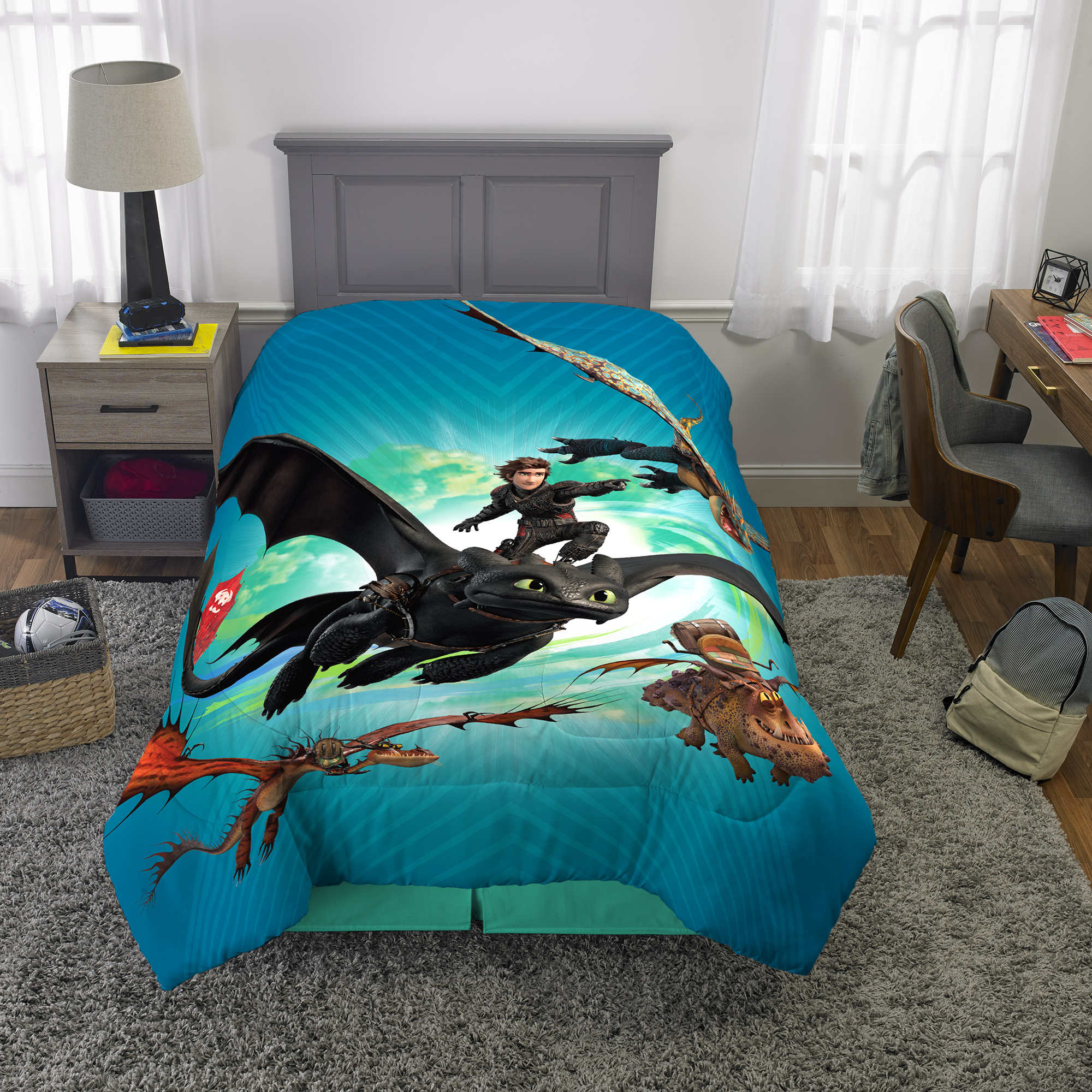 How to Train Your Dragon 3 Comforter, Kids Bedding, Twin, Fly Dragon Fly