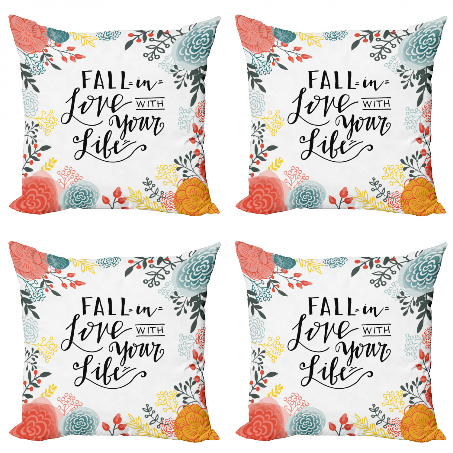 Saying Throw Pillow Cushion Case Pack Of 4 Fall In Love With Your Life Lettering With Botanical Frame Modern Accent Double Sided Print 4 Sizes Charcoal Grey Multicolor By Ambesonne Walmart Com
