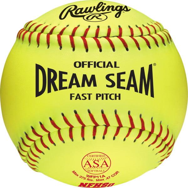 "Rawlings ASA NFHS Official 11"" Dream Seam Density Cork Core Leather Softballs, 12 Pack"