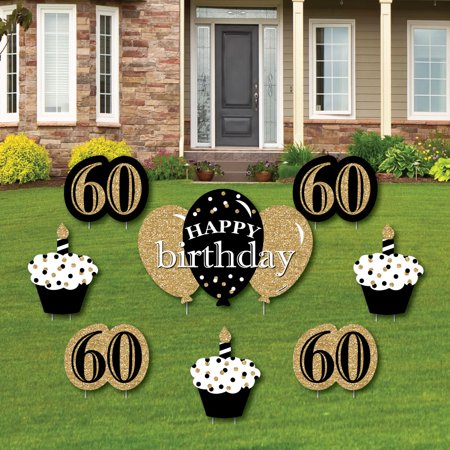 1st Birthday Yard Sign (Adult 60th Birthday - Gold - Yard Sign & Outdoor Lawn Decorations - Birthday Party Yard Signs - Set of)