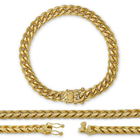 Cuban Link Chain Bracelet, 6mm 18k Gold Plated Stainless Steel, Fashion (6mm Gold Plated)
