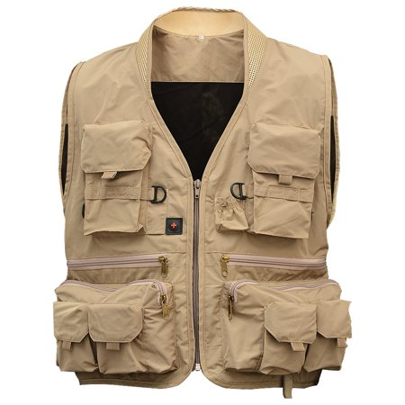 Men Multi Pocket Fishing Vest Breathable Quick Dry Sleeveless Jacket for Outdoor Sports Color:Khaki Size:XL