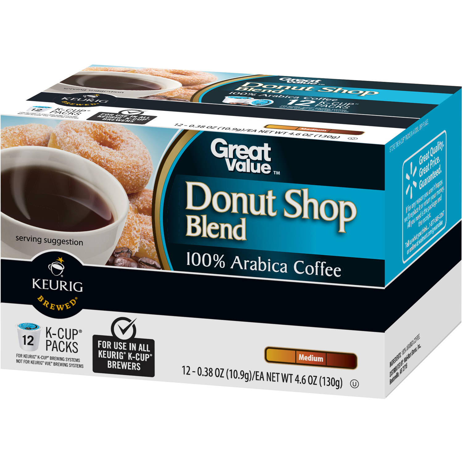 Great Value Donut Shop Blend Medium Roast Coffee K-Cup Packs, 0.38 oz, 12 count