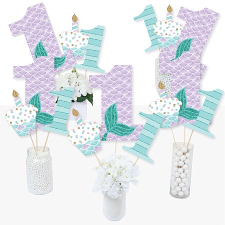 1st Birthday Let's Be Mermaids - First Birthday Party Centerpiece Sticks - Table Toppers - Set of 15](Little Mermaid 1st Birthday Party)