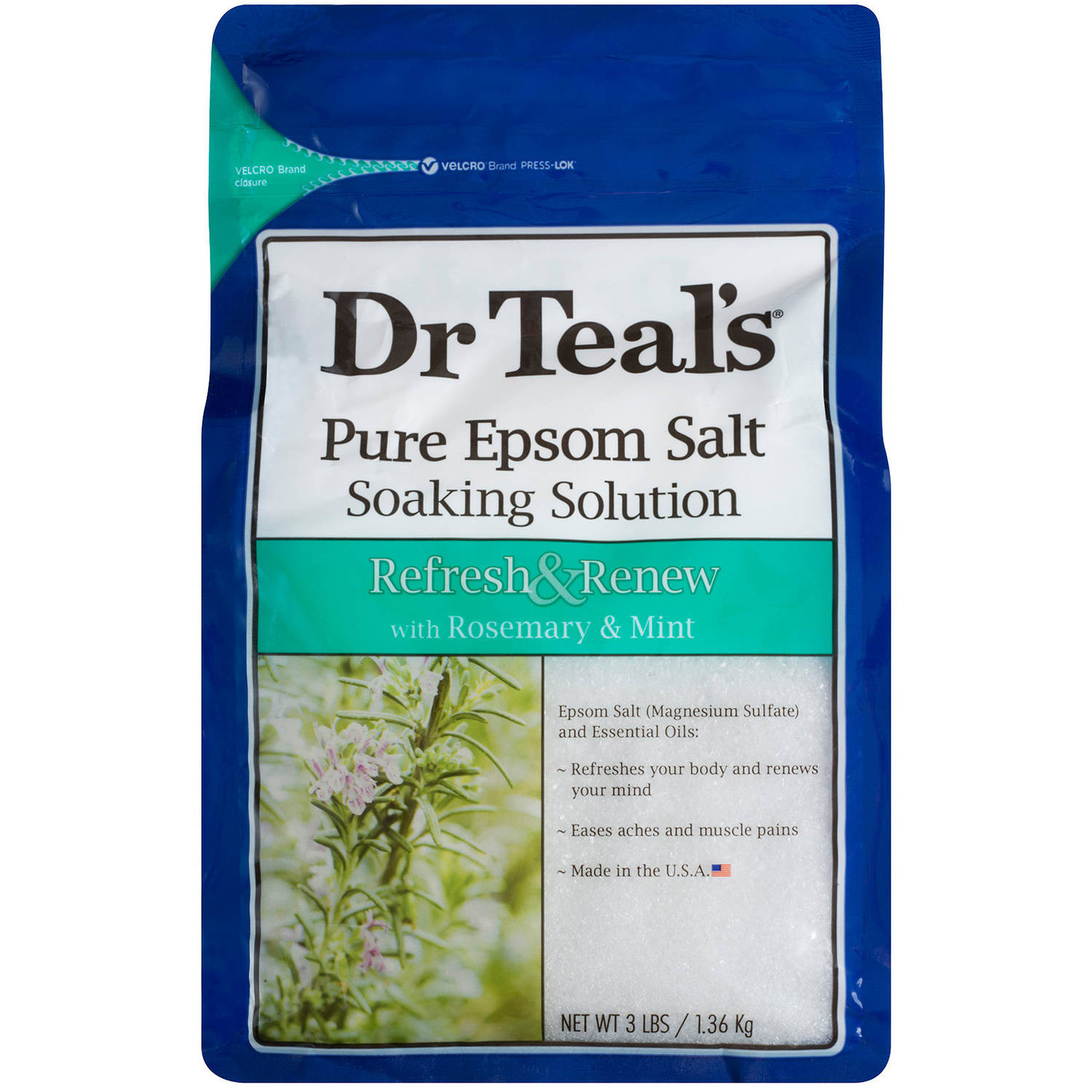 Dr. Teal's Refresh & Renew with Rosemary and Mint Epsom Salt Soaking Solution, 3 lbs