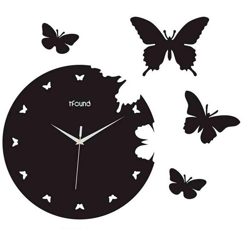 Creative Motion Industries 13358 Butterfly Design Clock, Those buttrtflies can be placed to places you like It was cut out from the clock for your own placement, Product Size: 14.17x14.17x0.59