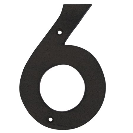 """6"""" Rustic Brown Cast Iron Metal House Number 6 Home Street Address Phone Numbers"""