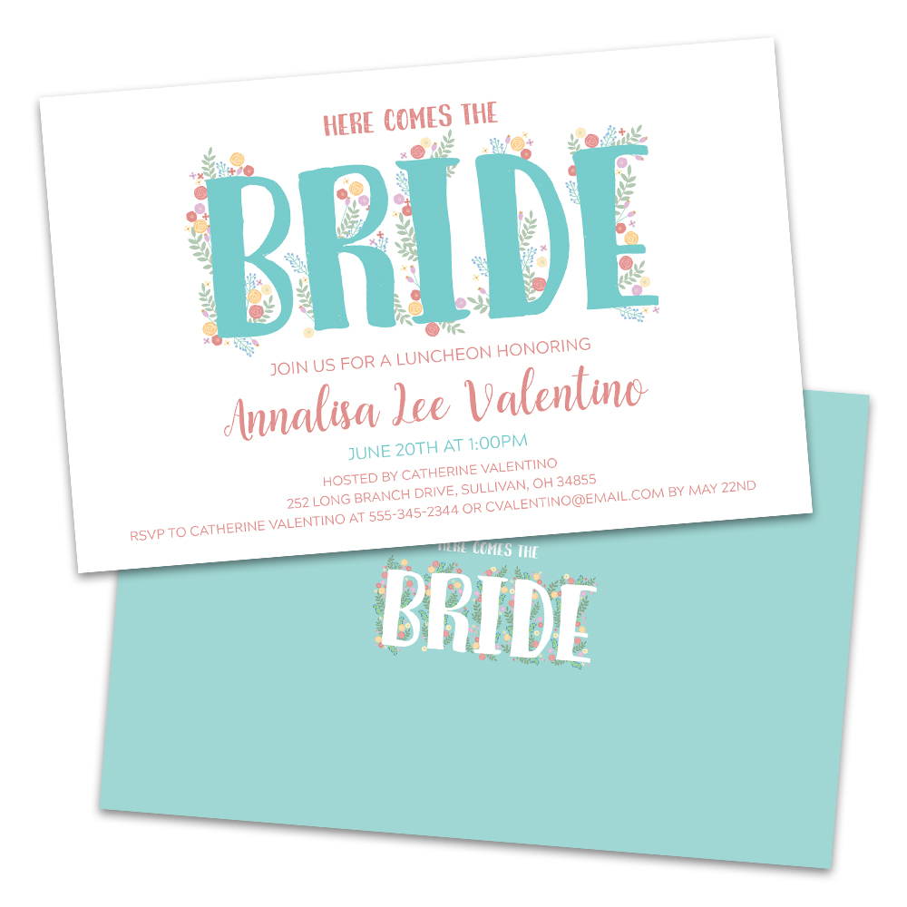 Personalized Floral Bridal Luncheon Invitations