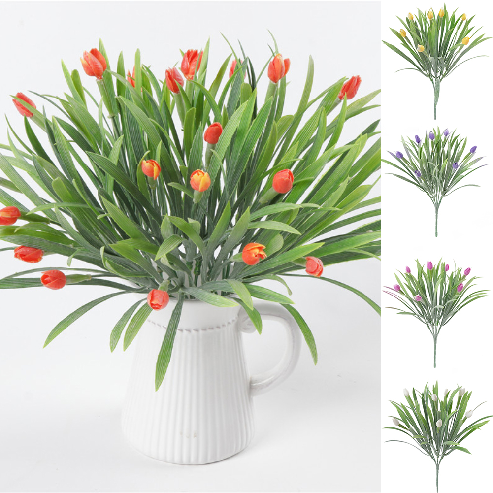HiCoup 1 Branch Artificial Tulip Plastic Flower Wedding Party Home Office Decoration
