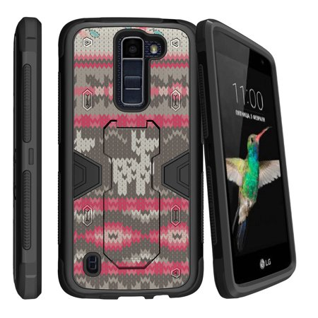 Llama Stands - LG K8 | Escape 3 Dual Layer Shock Resistant MAX DEFENSE Heavy Duty Case with Built In Kickstand - Llama Sweater Pattern