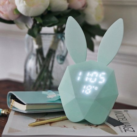 Cute Rabbit Bunny Digital Alarm Clock LED Sound Night Light Thermometer Rechargeable Table Wall Clocks