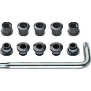 FSA Torx T-30 Alloy Double Chainring Nut/Bolt Set with tool: Black