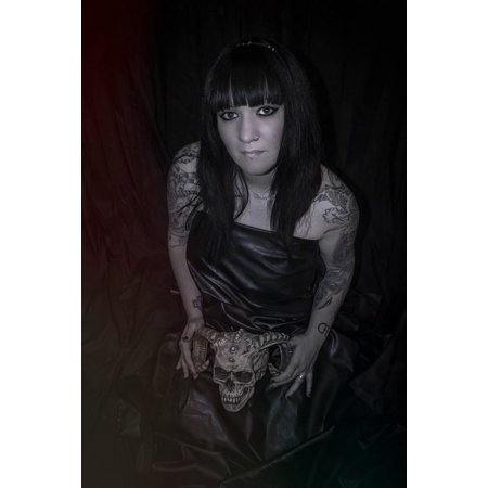 - Canvas Print Model Tattoo Necromancy Girl Black Dress Woman Stretched Canvas 10 x 14