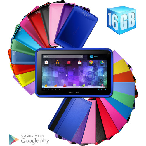"Visual Land Prestige 7"" Dual Core 16GB includes Pink Tablet Case"