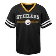 Youth Black Pittsburgh Steelers Mesh V-Neck T-Shirt
