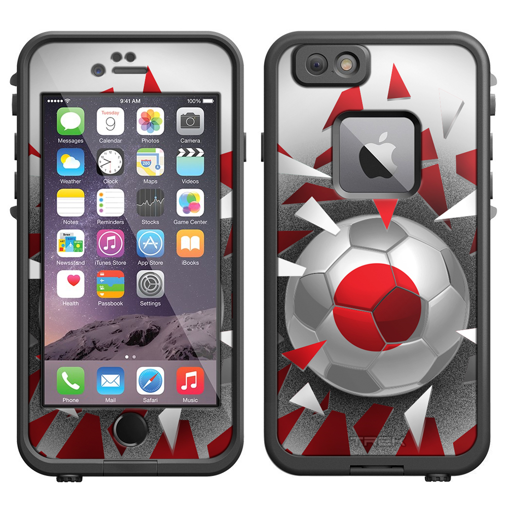 Skin Decal for LifeProof iPhone 6 Case Soccer Ball Japan Flag by Trek Media Group