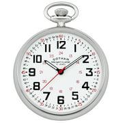 Men's Silver-Tone Mechanical Hand Wind Railroad Pocket Watch # GWC14100S