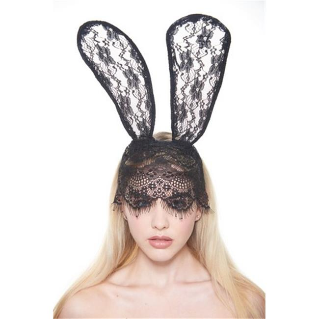 Kayso LL010BK Long Black Bunny Ears Lace Headband with Face Cover