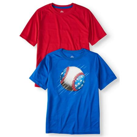 Way to Celebrate Americana Short Sleeve Poly Tee, 2-Pack Set (Little Boys, Big Boys, & Husky)