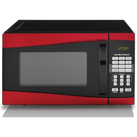 Hamilton Beach 0.9 cu ft 900W Microwave, Red Hamilton Beach 0.9 cu ft 900W Microwave, Red:0.9 cu ft digital microwave900W microwave output power10 microwave power levels6 quick set menu buttons1-touch cooking features: popcorn, potato, reheat, frozen dinner, beverage and pizza99'99  cooking timer+30 Seconds full power express cookChild-safe lockout feature Digital clockDefrost by weight, Defrost by timeEasy to read LED displayRed front, Black housing and White painted cavity1-year limited warrantyDimensions: 19.1 L x 16 W x 11.5 H