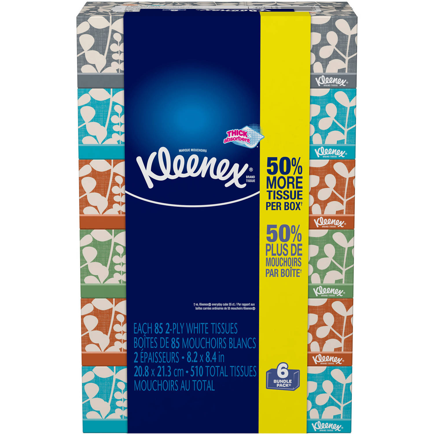 Kleenex Facial Tissues, Everyday, 85 Sheets, Pack of 6 (Designs May Vary)