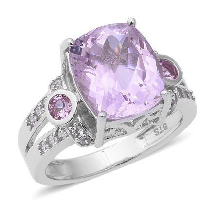 Promise Ring 925 Sterling Silver Platinum Plated Kunzite Pink Sapphire Jewelry for Women Ct - Kunzite Ring