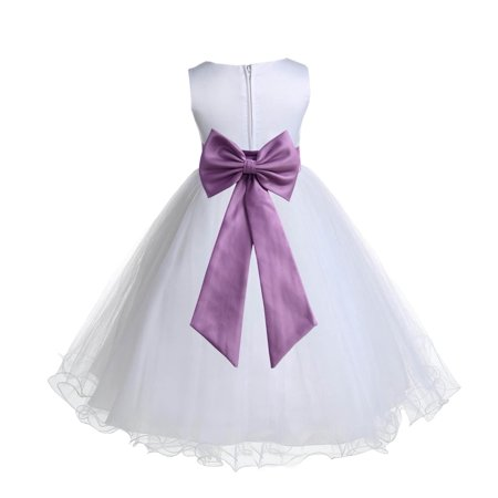 Ekidsbridal Satin White Wisteria Tulle Rattail Christmas Party Bridesmaid Recital Easter Holiday Wedding Pageant Communion Princess Birthday Clothing Baptism 829T size 6-9 month Flower Girl Dress - Wisteria Dress