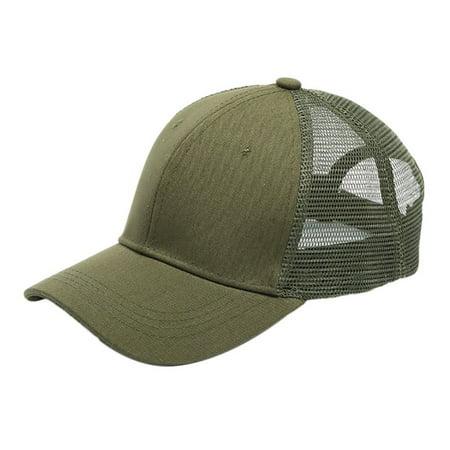 Tinymills Men Women Adjustable Mesh Ponytail Baseball Cap Messy Bun Snapback Sport Cap Hat