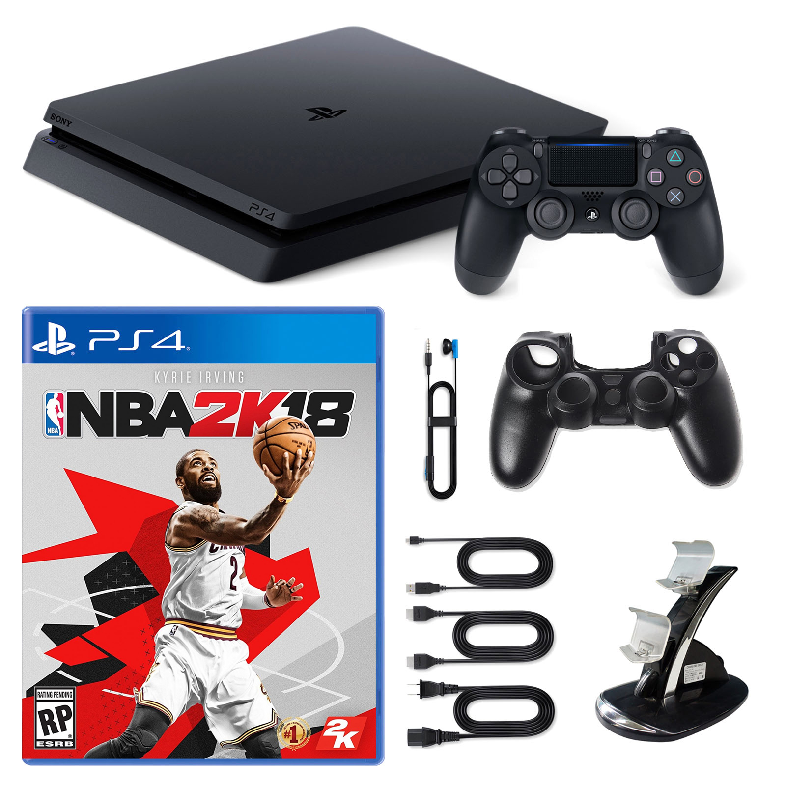 Playstation 4 1TB Core Console with NBA 2K18, Dual Cradle and Silicone Sleeve by PlayStation
