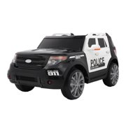 UBesGoo Kids Off-Road Police Car 12V Battery Powered Electric Rugged 4-Wheeler Ride-On Car with 3 Speeds, Music, LED Headlights, Remote Control
