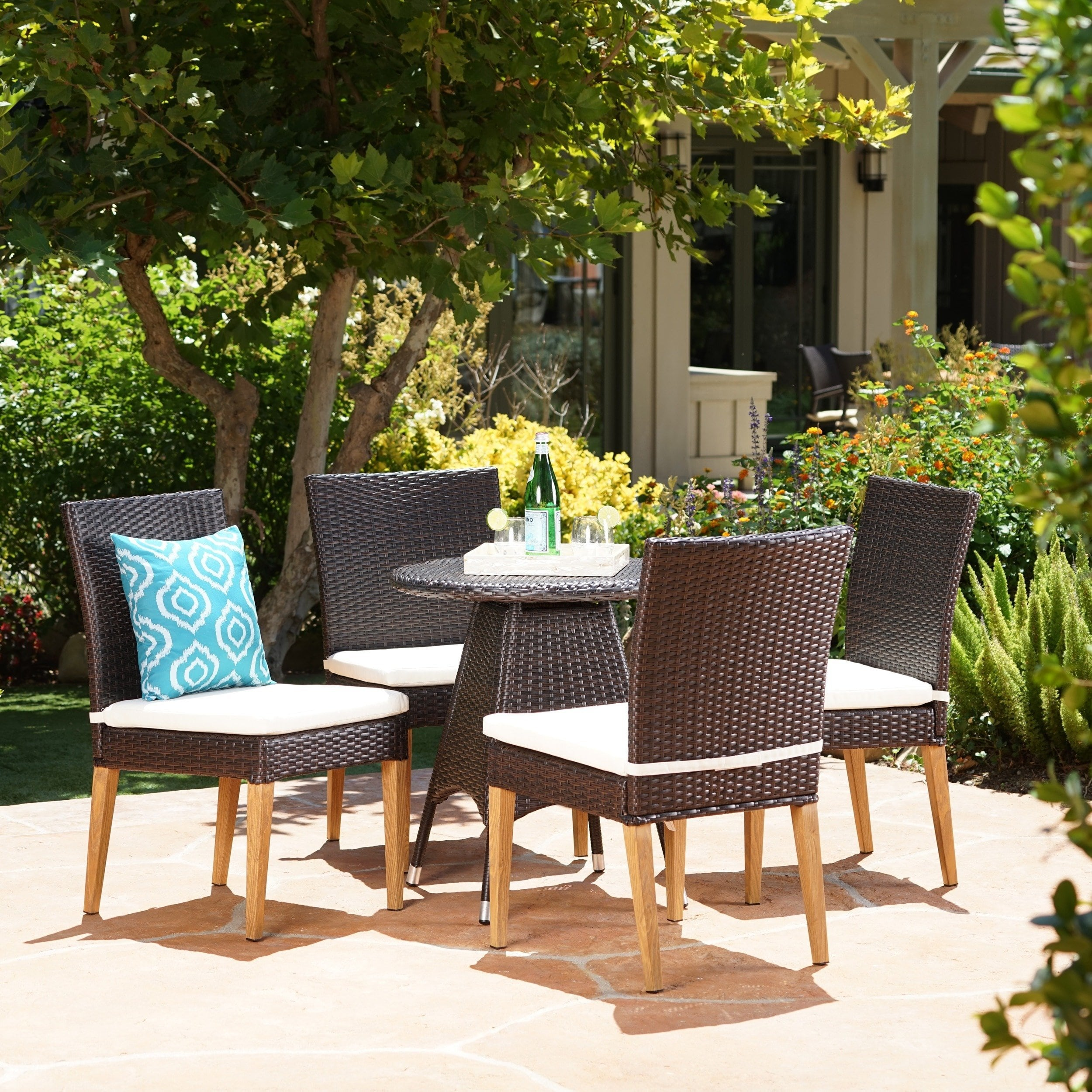 Christopher Knight Home Santa Barbara Outdoor 5-Piece Round Wicker Dining Set with Cushions & Umbrella Hole by