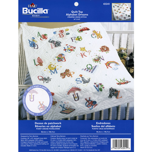 Bucilla Alphabet Dreams - Stamped Cross-Stitch Baby Quilt Top