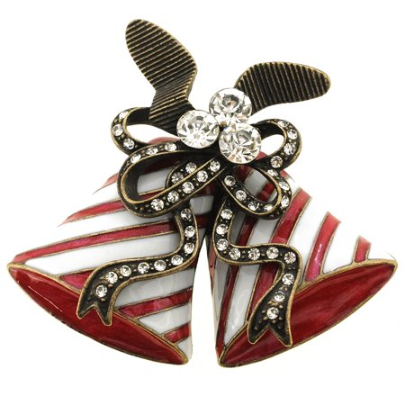Antique Style Red Enamel Christmas Bell Pin Brooch Antique Womens Brooch
