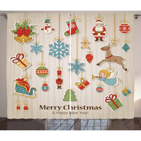 christmas curtains 2 panels set xmas winter holiday themed icons celebratory objects retro graphic collection