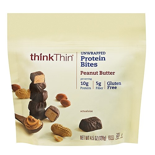 thinkThin Protein Bites, Peanut Butter, 4.5 oz Bag, 3 Servings, 6 count