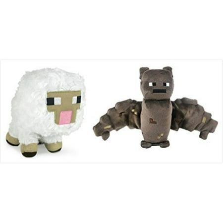 Official Minecraft Overworld 7 Plush Baby Sheep Bat Figure Set Of