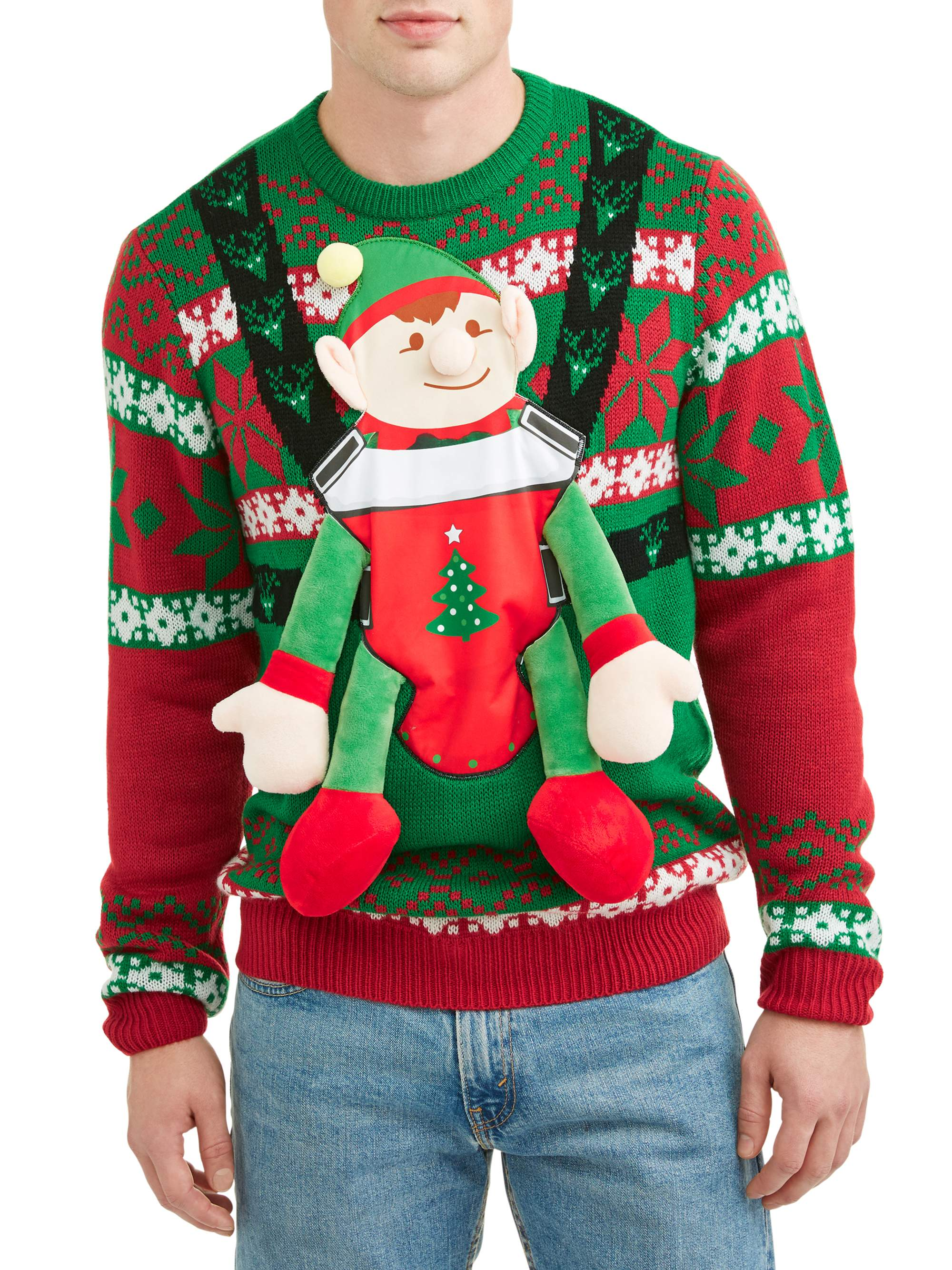 Men's Elf Baby Ugly Christmas Sweater, Up to size 2XL