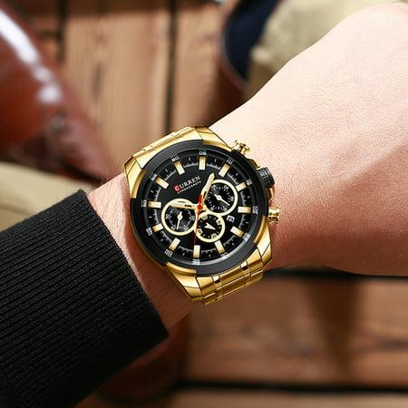 CURREN 8361 Montre-bracelet à quartz pour homme Montre homme avec indicateur de date Date Aiguilles lumineuses étanches Trois sous-cadrans Deuxième minute Microsecond seconde Chronographe Bracelet en - image 7 of 7