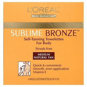 L'Oreal Sublime Bronze Self Tanning Towelettes For Body Medium Natural Tan 6 Single (Sun Towelettes)