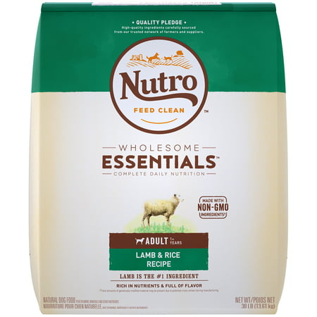 NUTRO WHOLESOME ESSENTIALS Natural Adult Dry Dog Food Lamb & Rice Recipe, 30 lb. Bag ()